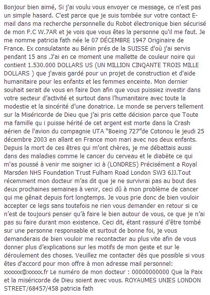 "Mail frauduleux ""typique"""